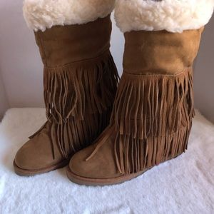 MADDEN GIRL SLEET BOOTS WITH FRINGE